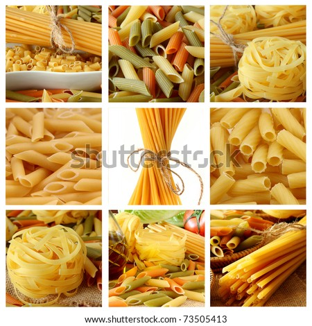 Collage with Raw pasta - stock photo