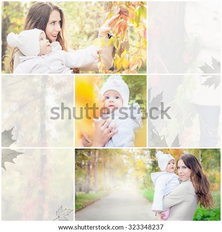 Collage with several photos of family, mother with baby outdoor at fall park. Happy and beautiful mom with her daughter at autumn season. Copy space.  - stock photo