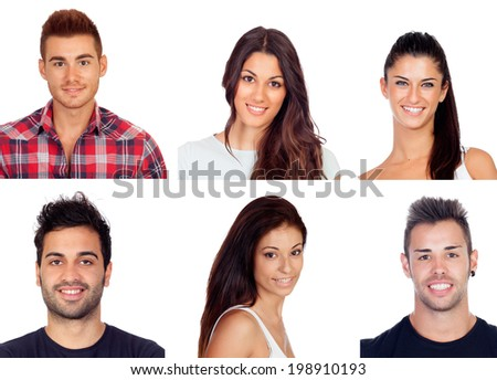 Collage with six images of young people isolated on a white background - stock photo