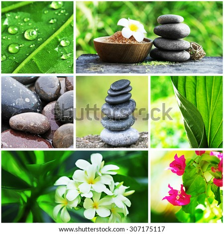 Collage with spa compositions - stock photo