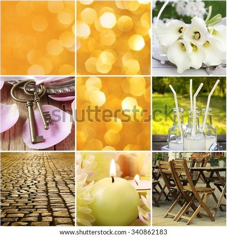 Collage with summertime details: party, celebrations, joy of life - stock photo