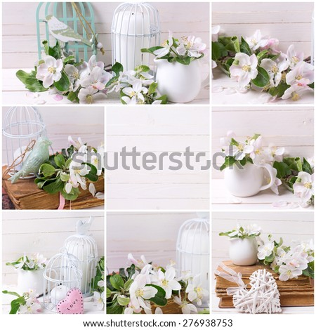 Collage with tender apple blossom, candle in decorative bird cage, heart, old book on white painted wooden planks. Selective focus.  - stock photo