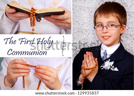 collage with the first holy communion -boy praying and details - stock photo