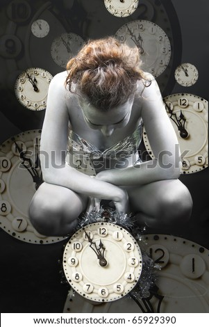 Collage with the image of clocks and silver girl - stock photo