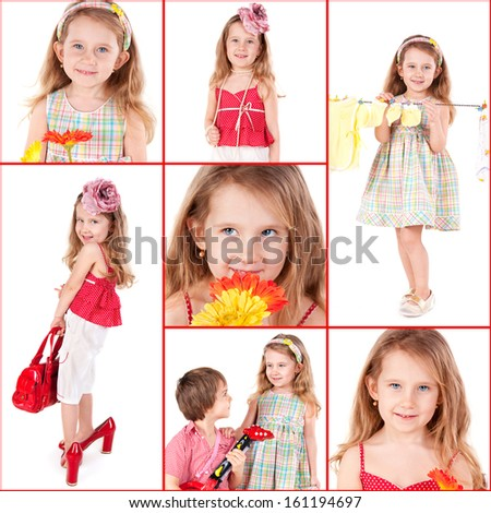 Collage with the pictures of the funny little girl - stock photo