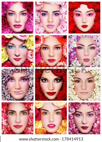 Collage with twelve portraits of beautiful healthy happy women with flowers around their faces. Beauty, make-up, organic cosmetics.  - stock photo