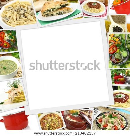 Collage with various dishes and blank frame in the middle  - stock photo