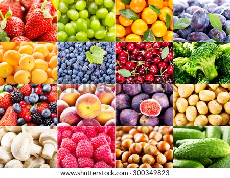 collage with various fruits and vegetables - stock photo