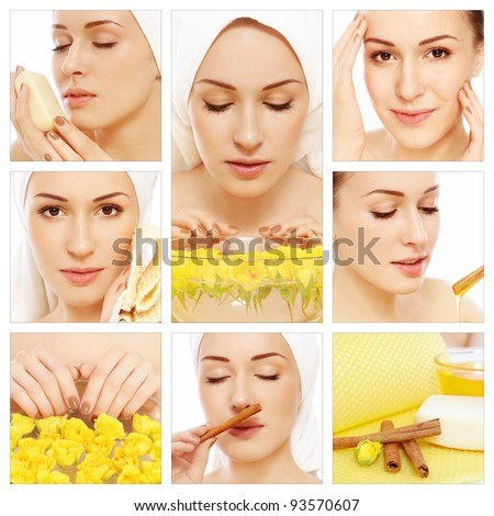 Collage with young beautiful happy healthy woman having spa treatment. Beauty, hygiene and skin care - stock photo