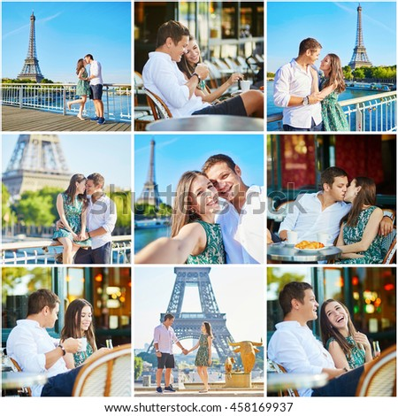 Collage with young romantic couple having a date, walking together and drinking coffee in Paris. Tourist on vacation in France - stock photo