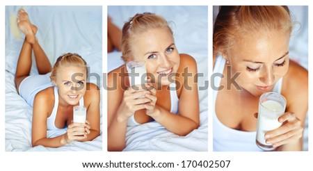 collage woman drinking milk - stock photo