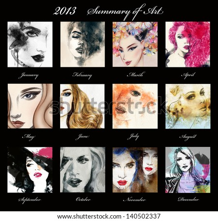 Collage. Woman face. Hand painted fashion illustration - stock photo