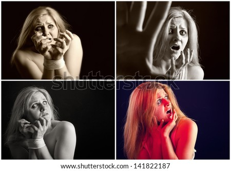 Collage. Woman victim of domestic violence and abuse - stock photo