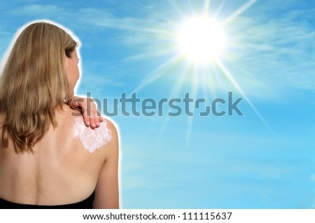 Collage woman with sun and lotion - stock photo