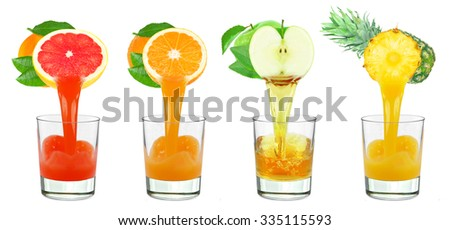 collages fruit juice in a glass isolated on a white background - stock photo