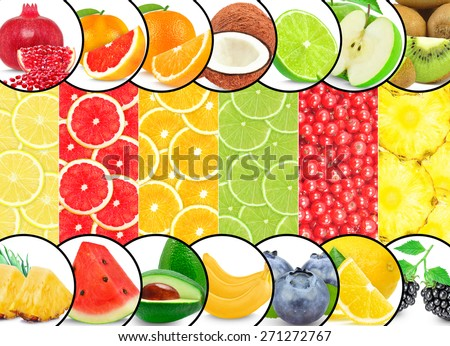 collages fruits isolated on a white background - stock photo