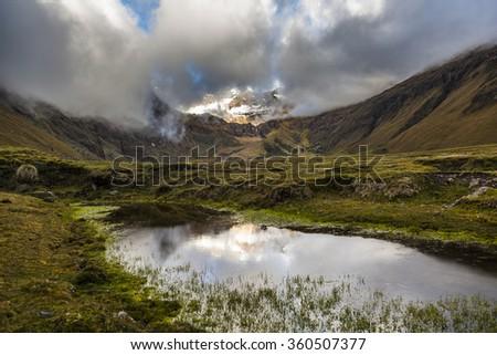Collanes Valley in El Altar volcano Sangay National Park - stock photo