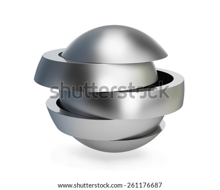 Collapsible metal ball. 3d image. White background. - stock photo