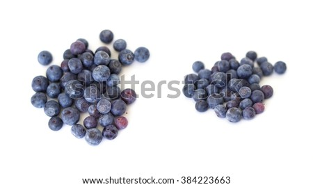 Collcection of Blueberries  on white - stock photo