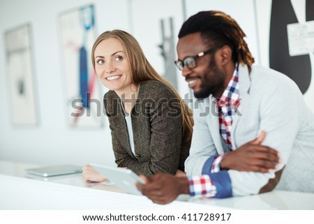 Colleagues at briefing - stock photo
