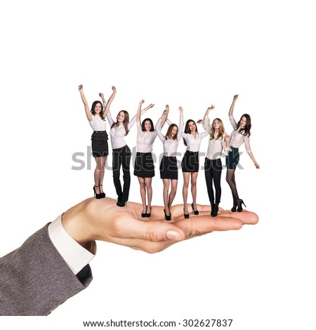 Colleagues stand on hand on the isolated background - stock photo