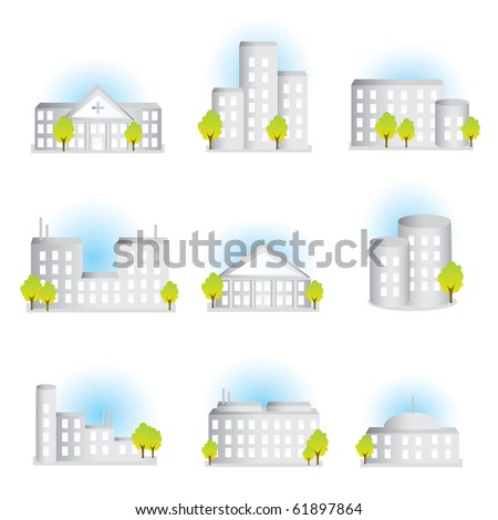 Colleclion of different illustrated buildings - stock photo