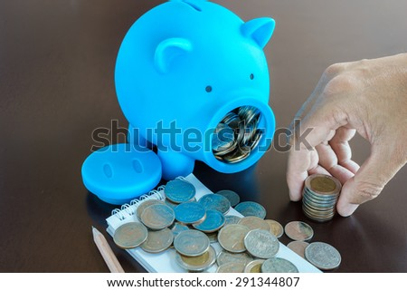 Collect money from saving in Piggy Bank, Hand holding money from Piggy Bank - stock photo