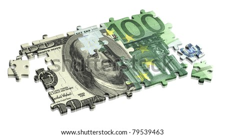 Collected puzzle with the image of dollar and euro. Isolated over white - stock photo