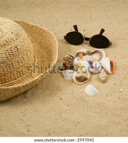 Collecting Shells on the Beach.  Seashells, Straw Hat, and Sun Glasses on a Sandy Beach - stock photo