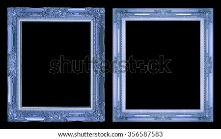 collection 2 antique frame isolated on black background, clipping path. - stock photo