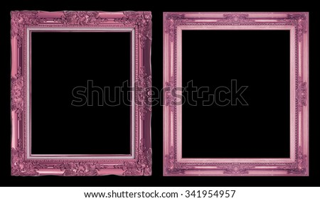 collection 2 antique pink frame isolated on black background, clipping path. - stock photo