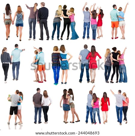 "collection "" Back view of group people"". set "" Rear view person team""  Isolated over white. - stock photo"