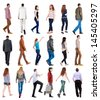 """collection """" back view of walking people """". going people in motion set.  backside view of person.  Rear view people collection. Isolated over white background. - stock photo"""