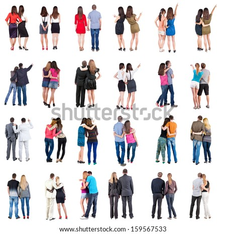 "Collection ""Back view of walking  young couple"".  Rear view people collection.  backside view of person.  Isolated over white background. young couples in official and street clothes moved - stock photo"