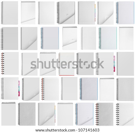 collection blank background. paper spiral notebooks isolated on whit - stock photo