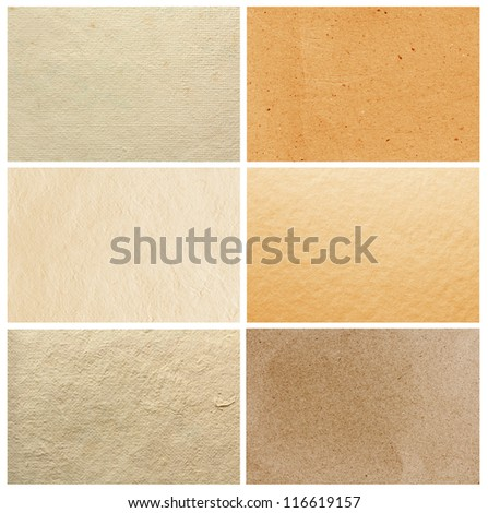 Collection brown paper texture background, Macro close up for design work - stock photo