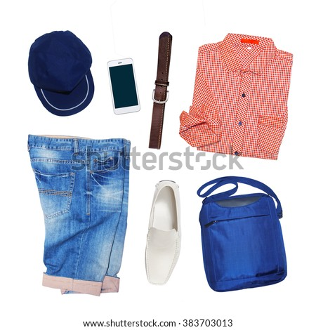 collection collage of men's clothing isolated white background - stock photo