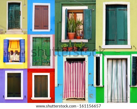 collection colorful windows and doors from the Italian island Burano  - stock photo