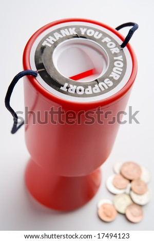 Collection Container And Coins - stock photo