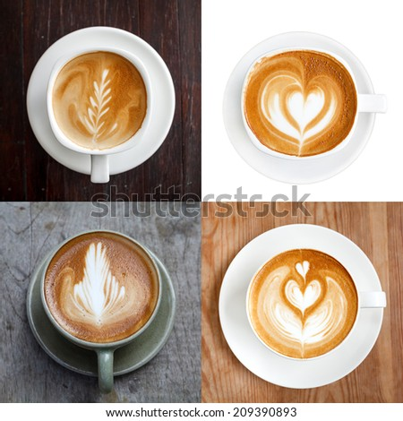 Collection,Cup of latte coffee  - stock photo