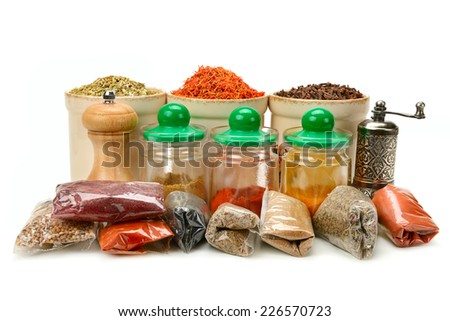 Collection dry spices isolated on a white background - stock photo