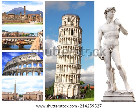 Collection - famous places of Italy - stock photo