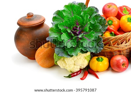Collection food isolated on white background - stock photo