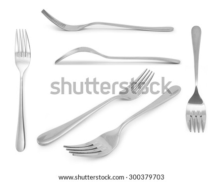 collection fork  Stainless steel isolated over the white background - stock photo