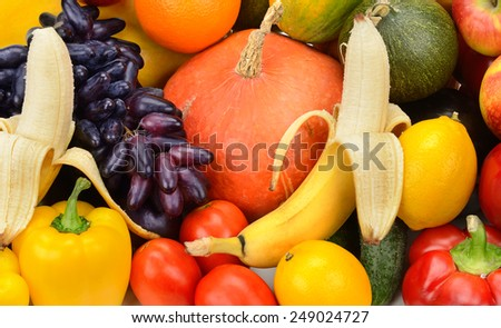 collection fresh fruit and vegetable - stock photo