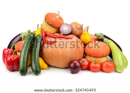 collection fresh vegetables isolated on white - stock photo