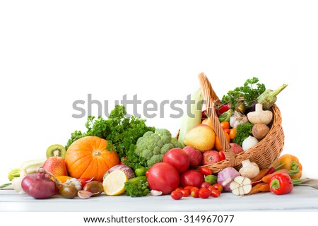 Collection fruits and vegetables isolated on a white background. - stock photo
