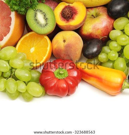 collection fruits and vegetables isolated on white - stock photo