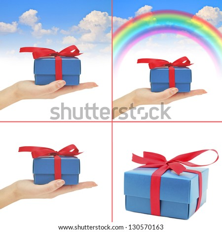 collection gift in hand rainbow blue summer sky - stock photo