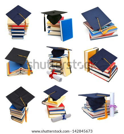 Collection graduating degree in school class - stock photo